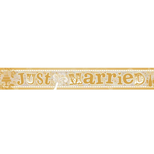 Just Married Holographic Foil Banner